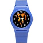 Heart Love Flame Girl Sexy Pose Round Plastic Sport Watch (S) Front