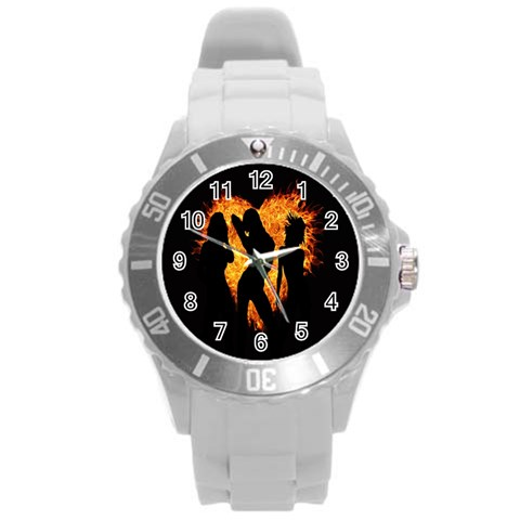 Heart Love Flame Girl Sexy Pose Round Plastic Sport Watch (L)