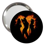 Heart Love Flame Girl Sexy Pose 3  Handbag Mirrors Front