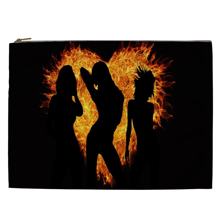 Heart Love Flame Girl Sexy Pose Cosmetic Bag (XXL)