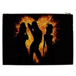 Heart Love Flame Girl Sexy Pose Cosmetic Bag (XXL)  Back