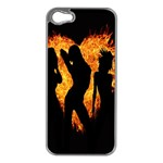 Heart Love Flame Girl Sexy Pose Apple iPhone 5 Case (Silver) Front