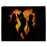 Heart Love Flame Girl Sexy Pose Cosmetic Bag (XXXL)  Front