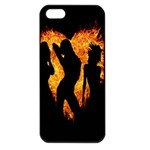 Heart Love Flame Girl Sexy Pose Apple iPhone 5 Seamless Case (Black) Front