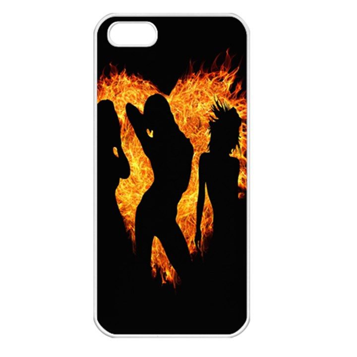 Heart Love Flame Girl Sexy Pose Apple iPhone 5 Seamless Case (White)