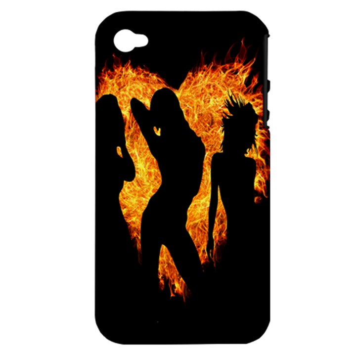 Heart Love Flame Girl Sexy Pose Apple iPhone 4/4S Hardshell Case (PC+Silicone)
