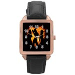 Heart Love Flame Girl Sexy Pose Rose Gold Leather Watch  Front