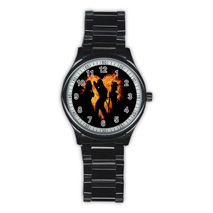 Heart Love Flame Girl Sexy Pose Stainless Steel Round Watch