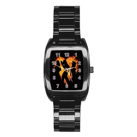Heart Love Flame Girl Sexy Pose Stainless Steel Barrel Watch