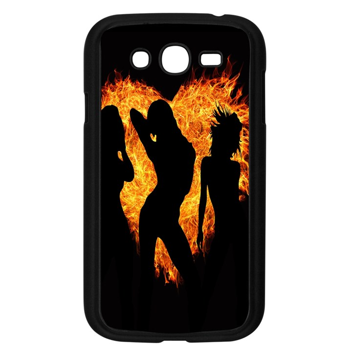 Heart Love Flame Girl Sexy Pose Samsung Galaxy Grand DUOS I9082 Case (Black)