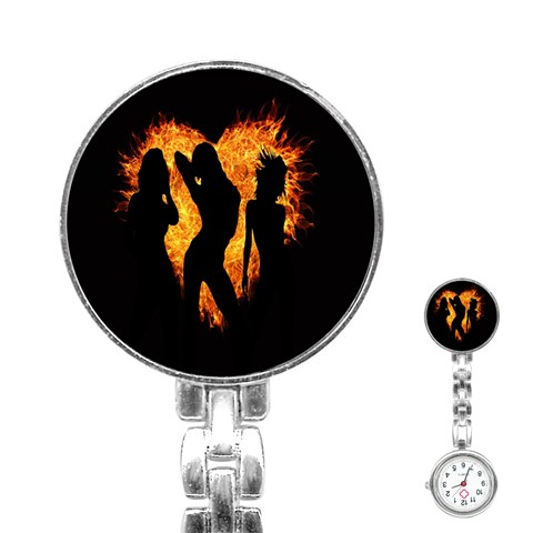 Heart Love Flame Girl Sexy Pose Stainless Steel Nurses Watch