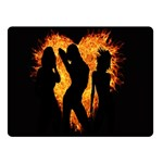 Heart Love Flame Girl Sexy Pose Double Sided Fleece Blanket (Small)  50 x40 Blanket Back