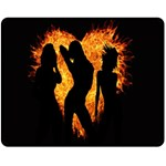 Heart Love Flame Girl Sexy Pose Double Sided Fleece Blanket (Medium)  60 x50 Blanket Back