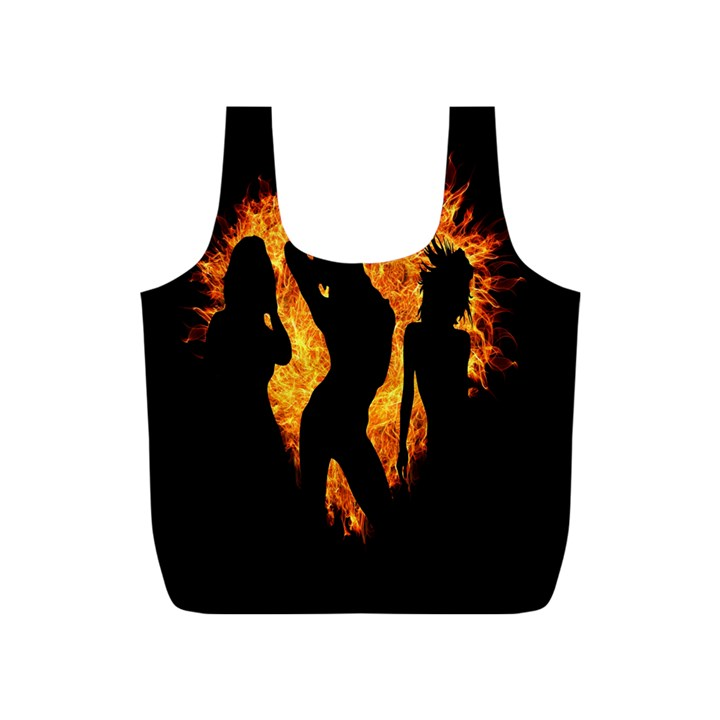 Heart Love Flame Girl Sexy Pose Full Print Recycle Bags (S)
