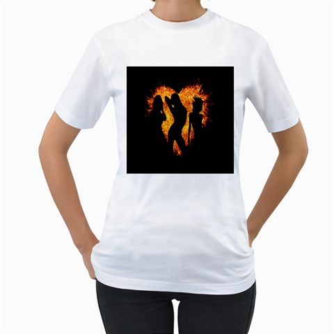 Heart Love Flame Girl Sexy Pose Women s T-Shirt (White)
