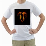 Heart Love Flame Girl Sexy Pose Men s T-Shirt (White)  Front