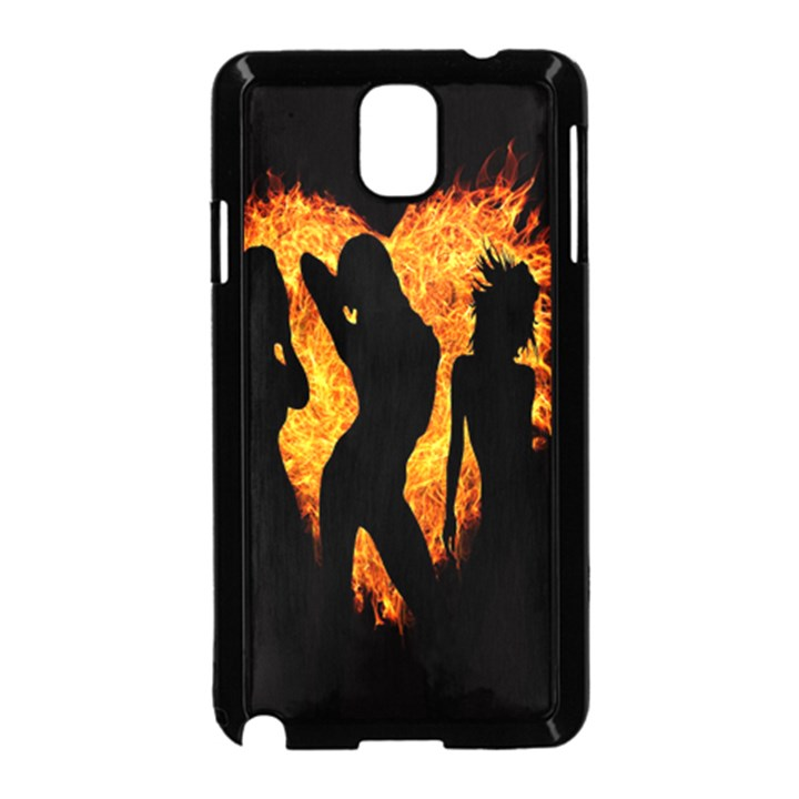 Heart Love Flame Girl Sexy Pose Samsung Galaxy Note 3 Neo Hardshell Case (Black)