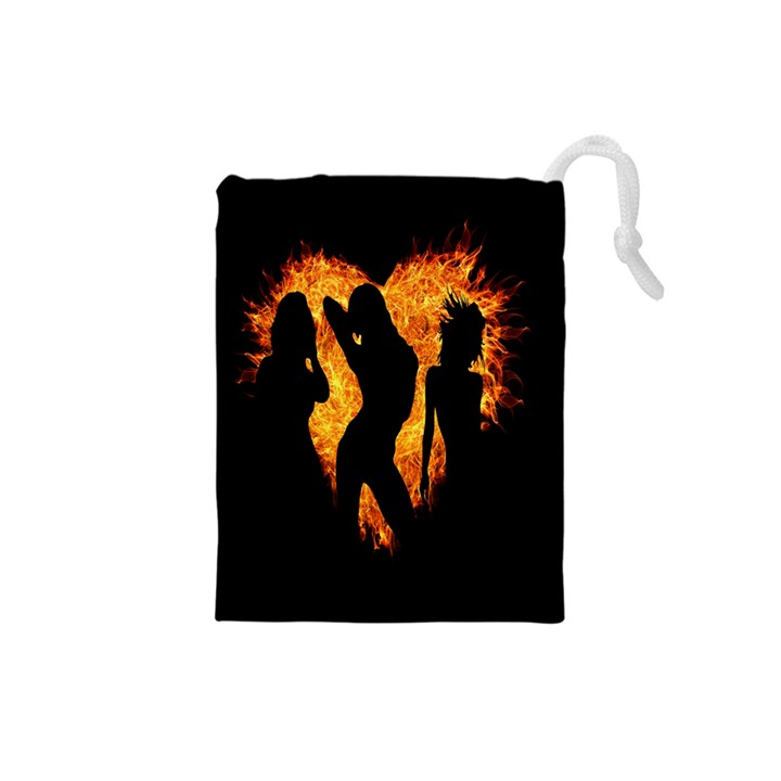 Heart Love Flame Girl Sexy Pose Drawstring Pouches (Small)