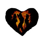 Heart Love Flame Girl Sexy Pose Standard 16  Premium Flano Heart Shape Cushions Front