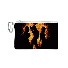 Heart Love Flame Girl Sexy Pose Canvas Cosmetic Bag (S)
