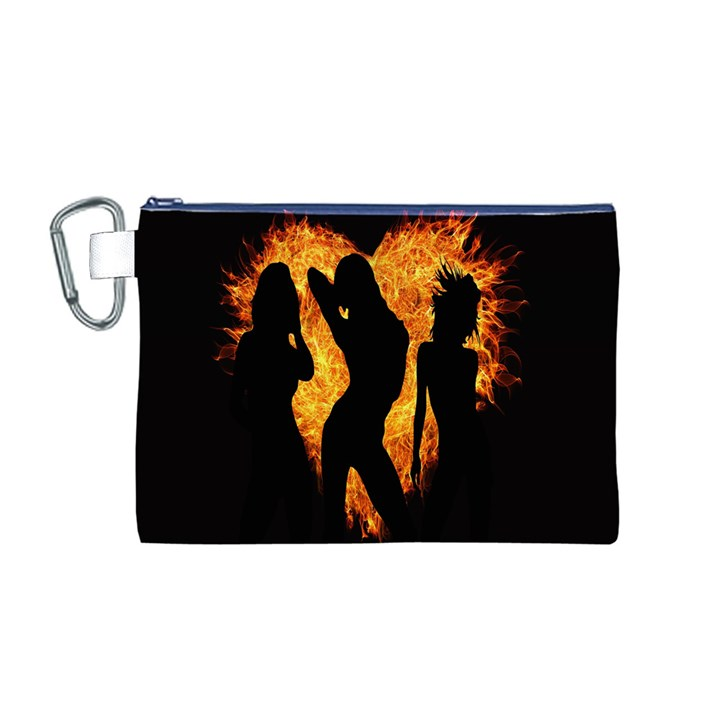 Heart Love Flame Girl Sexy Pose Canvas Cosmetic Bag (M)