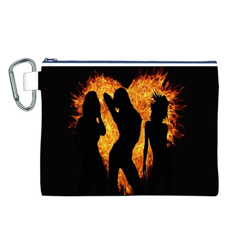 Heart Love Flame Girl Sexy Pose Canvas Cosmetic Bag (L)