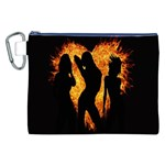 Heart Love Flame Girl Sexy Pose Canvas Cosmetic Bag (XXL) Front
