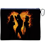 Heart Love Flame Girl Sexy Pose Canvas Cosmetic Bag (XXXL) Back