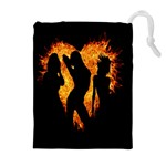 Heart Love Flame Girl Sexy Pose Drawstring Pouches (Extra Large) Front