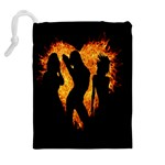 Heart Love Flame Girl Sexy Pose Drawstring Pouches (Extra Large) Back
