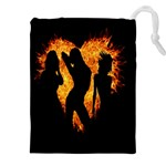 Heart Love Flame Girl Sexy Pose Drawstring Pouches (XXL) Front