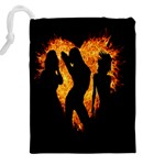Heart Love Flame Girl Sexy Pose Drawstring Pouches (XXL) Back
