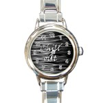 Black an white  Chill out  Round Italian Charm Watch Front