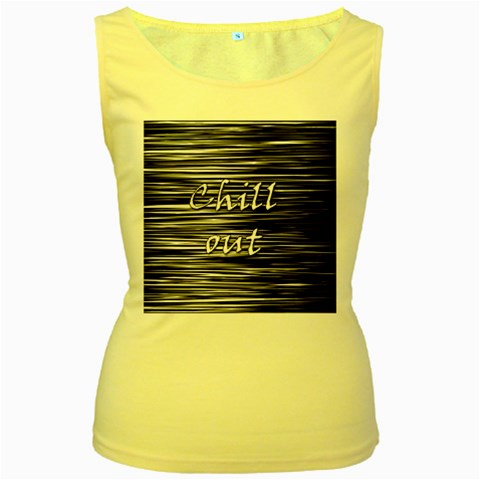 Black an white  Chill out  Women s Yellow Tank Top