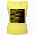 Black an white  Chill out  Women s Yellow Tank Top Front