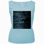 Black an white  Chill out  Women s Baby Blue Tank Top Front