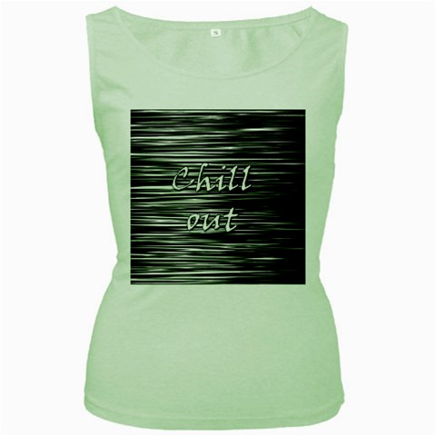 Black an white  Chill out  Women s Green Tank Top