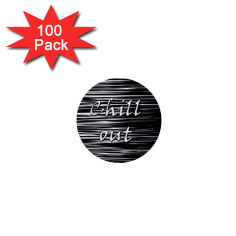 Black an white  Chill out  1  Mini Buttons (100 pack)