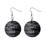 Black an white  Chill out  Mini Button Earrings Front