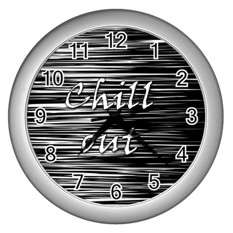 Black an white  Chill out  Wall Clocks (Silver)