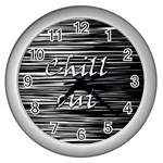 Black an white  Chill out  Wall Clocks (Silver)  Front