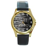 Black an white  Chill out  Round Gold Metal Watch Front