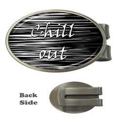 Black An White  chill Out  Money Clips (oval)