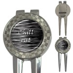 Black an white  Chill out  3-in-1 Golf Divots Front