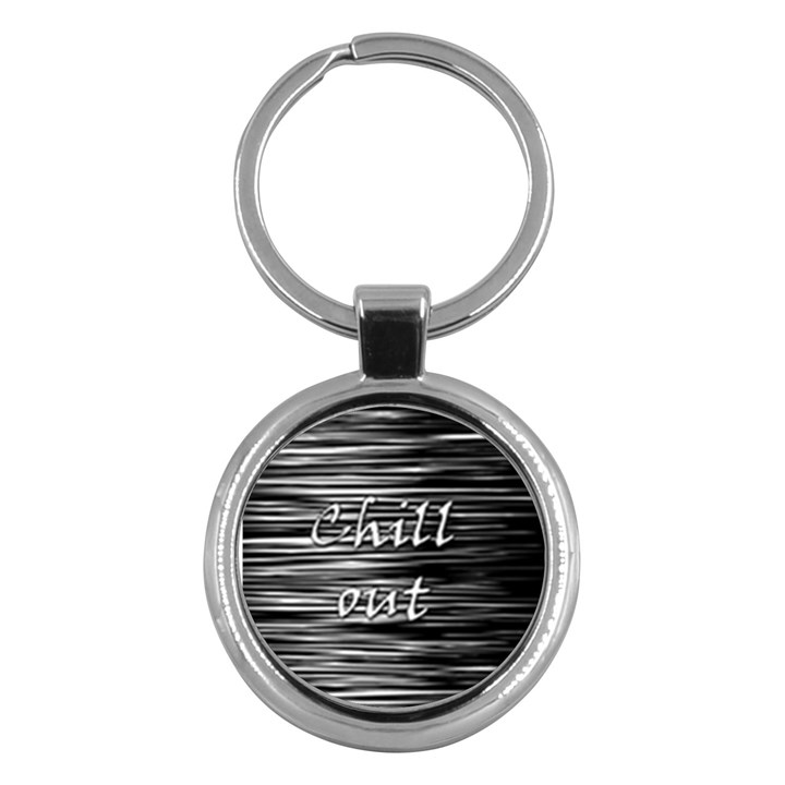 Black an white  Chill out  Key Chains (Round)