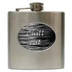 Black an white  Chill out  Hip Flask (6 oz) Front