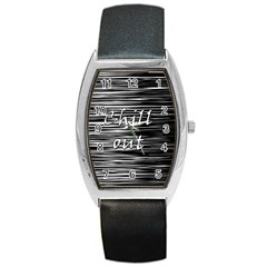 Black An White  chill Out  Barrel Style Metal Watch