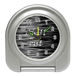 Black an white  Chill out  Travel Alarm Clocks Front