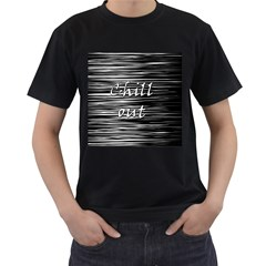 Black an white  Chill out  Men s T-Shirt (Black) (Two Sided)