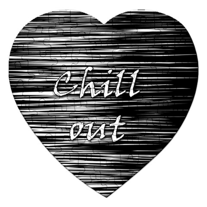 Black an white  Chill out  Jigsaw Puzzle (Heart)